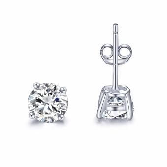 Just Gift Stud Round Earrings 3061 (Silver) Large