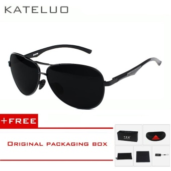 KATELUO Aluminum Magnesium Men's Polarized Aviator Sun glasses Oculos Male Driver Outdoor Sunglasses For Men Eyewear Accessories 7757 (Black) [ free gift ]