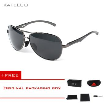 KATELUO Aluminum Magnesium Men's Polarized Aviator Sun glasses Oculos Male Driver Outdoor Sunglasses For Men Eyewear Accessories 7757 (Grey) [ free gift ]