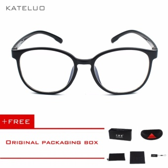 KATELUO Retro EyeswearTR90 Anti Computer Blue Laser Fatigue Radiation-resistant Eyeglasses Goggles Glasses 9300 (Black)[ free gift ]