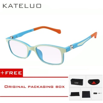 KATELUO TR90 Children's Anti Computer Blue Laser laser Fatigue Radiation-resistant Kids Eyeglasses Goggles Glasses Frame Children 1021(Yellow blue) [ free gift ]