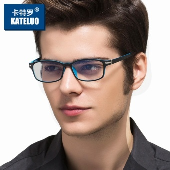 KATELUO TUNGSTEN CARBON STEEL Computer Goggles Anti Fatigue Radiation-resistant Glasses Frame Eyeglasses 13025 (Blue) [ free gift ] - 4