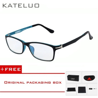 KATELUO TUNGSTEN CARBON STEEL Computer Goggles Anti Fatigue Radiation-resistant Glasses Frame Eyeglasses 13025 (Blue) [ free gift ]