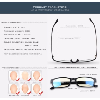 KATELUO TUNGSTEN CARBON STEEL Computer Goggles Anti Fatigue Radiation-resistant Glasses Frame Eyeglasses 13025 (Blue) [ free gift ] - 5