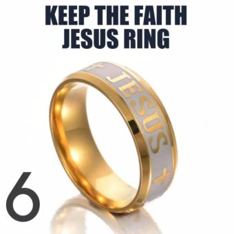 KEEP THE FAITH JESUS RING (size 6) STAINLESS STEEL 18K GOLD PLATED