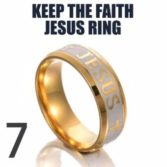 KEEP THE FAITH JESUS RING (size 7) STAINLESS STEEL 18K GOLD PLATED