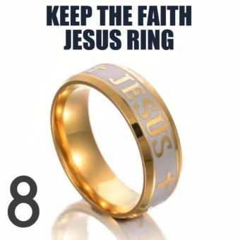 KEEP THE FAITH JESUS RING (size 8) STAINLESS STEEL 18K GOLD PLATED