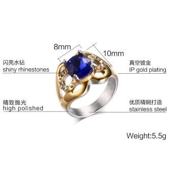 Kemstone Natural Blue Topaz Gemstone Genuine Diamond SterlingSilver Yellow Gold Ring Fine Jewelry For Women - intl - 4