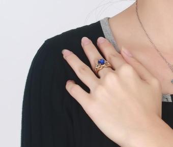 Kemstone Natural Blue Topaz Gemstone Genuine Diamond SterlingSilver Yellow Gold Ring Fine Jewelry For Women - intl - 2