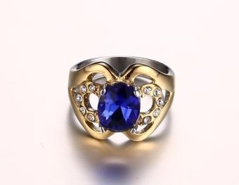 Kemstone Natural Blue Topaz Gemstone Genuine Diamond SterlingSilver Yellow Gold Ring Fine Jewelry For Women - intl - 5