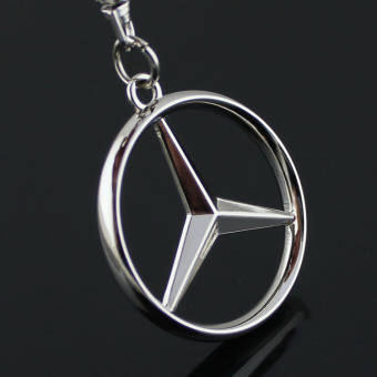 Keychain Metal Zinc Alloy Key Ring with Car Key Chain 3D Emblems ofBENZ Car Logo - intl