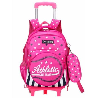 Kids Trolley School Bags Removable Backpack with Wheels For Boys Girls Children Rolling Backpacks - intl