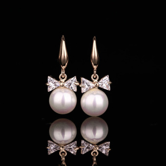 Korean-style crystal pearl earrings stud