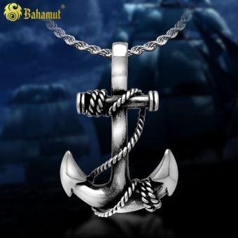 Korean-style men's titanium steel pendant anchor necklace