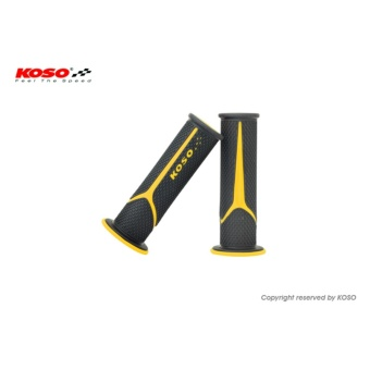 Koso Meteor Handle Grip (Black/Yellow) for Yamaha Mio Sporty/MioSoul (Carb)