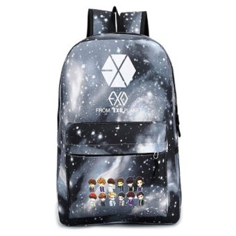 KPOP EXO-K EXO-M Backpacks EXO Galaxy Backpack School BagStudentTravel Bag(Black) - intl