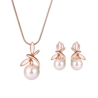 Kuhong Woman Fashion Popular Pearl Necklace Earring Jewelry Set -intl