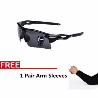 La Vie Men's Sun Glasses UV400 Sunglasses for Sports Outdoor Cycling Bicycle Bike Goggles + 1 Pair Arm Sleeves