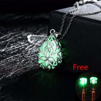 La Vie Wishing Tear Drop Glow in the Dark Pendant Necklace + Ear Studs - intl