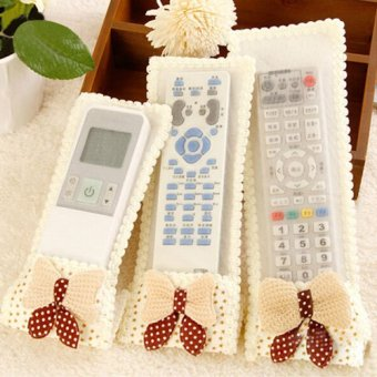 Lace fabric TV air conditioning remote control cover - purple bowstars ( trumpet ) - intl