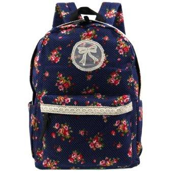 Ladies Canvas Printed Casual Daypacks Bag (Multicolor)