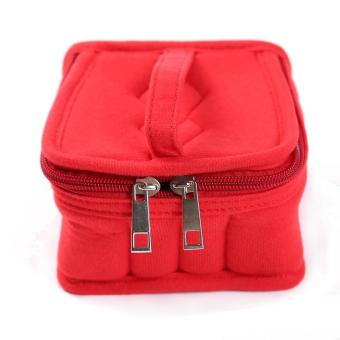 LALANG Portable 16 Bottles Essential Oil Bag Carrying Case DoubleZipper Travel Makeup Cosmetic Bag (Red)