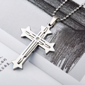L&T Fashion 2-Layer Cross Pendant Stainless Steel CrossNecklace Ex218 (Silver)