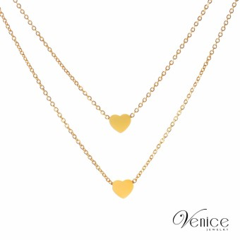 Layered Heart Necklace (18k Gold Plated) 2L-02