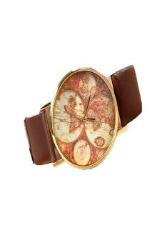 Leather Alloy Vintage Analog Quartz Watches Wristwatch (BROWN)