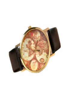 Leather Alloy Vintage Analog Quartz Watches Wristwatch(Black)