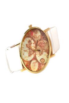 Leather Alloy Vintage Analog Quartz Watches Wristwatch(White)