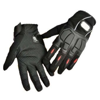 Leather Motorcycle Racing Hand Full Finger Protection Gloves Black/M - intl