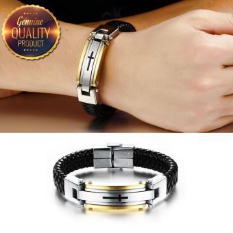 Leather Premium Cross Bracelet (18k Gold Plated) (19CM) - 2