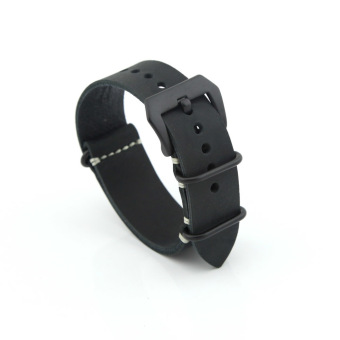 Leather Replacement Watch Band Strap Belt 22mm For Man or Woman (Black)