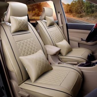 Leather Seat Cushoin Covers,Front Rear Full Set for 5 Seats Car Beige Size M - intl