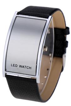 Leather Women Sports Wrist Watch Unisex LED Digital (Black)
