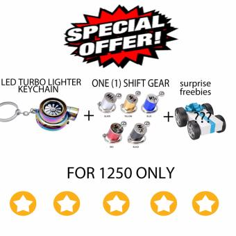 LED Turbo lighter keychain + shift gear keychain (multicolor)