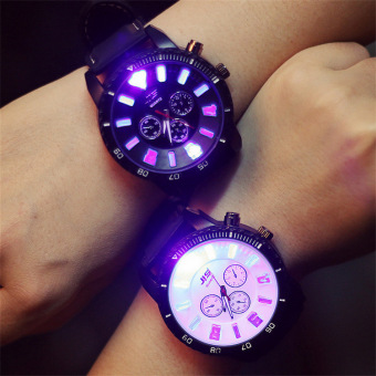 LED Watch for Lovers Couples Leather Big Dial Noctilucent QuartzWristwatches (White Dial, 1pcs) - intl Price Philippines
