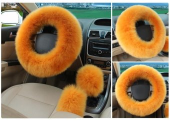 leegoal Universal Steering Wheel Cover Plush Wool Soft Fluffy Steering Cover Guard Truck Car Accessory 1 Set 3 Pcs Red - Intl - 3