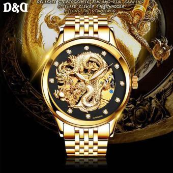 Legend of the Dragon NARY 18028 Gold Stainless Steel Luminous Full Automatic Hollow Mechanical Watch(Gold/Black) - 3