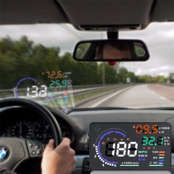 LHR HUD A8 5.5 inch OBD II Car Head Up Display Windscreen Projector with Speed Warning RPM MPH