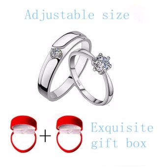 Live a simple couple ring for students on the ring wedding ring wedding ring simulation Korean men and women(Free Gift Box) - intl