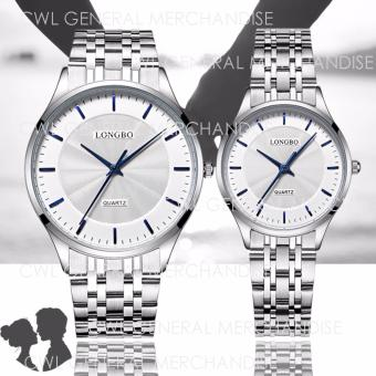 LONGBO-80266 Couple Watch Thin Dial Stainless Steel Band (Silver)