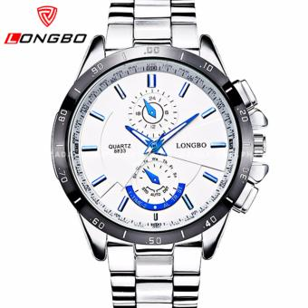 Longbo Men's Textured Chronograph Style Stainless Steel Strap Watch