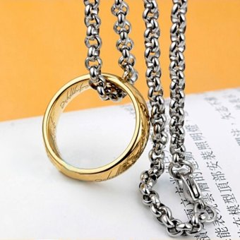 Lord of the Rings Stainless Steel The One Ring Bilbo Hobbit GoldRing&Chain 10# (Intl)