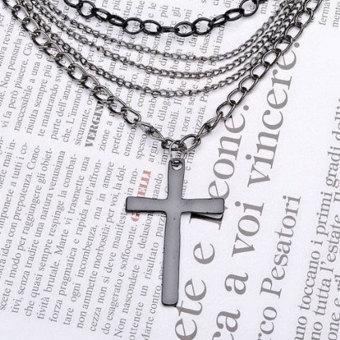 louiwill Fashion Vintage Style Multi Layer Chain Cross Pendant Necklace,Black (Intl)