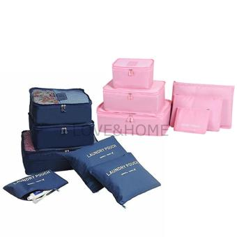 LOVE&HOME 6 in 1 Secret Pouch Travel Organizer Set (DarkBlue,Pink) Set Of 2