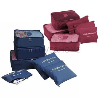 LOVE&HOME 6 in 1 Secret Pouch Travel Organizer Set (DarkBlue,Red) Set Of 2
