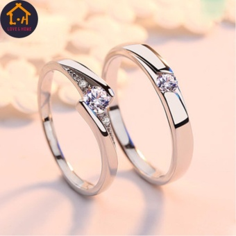 LOVE&HOME JZ-01 Zircon Diamond Lover Couple Rings (Silver) - 2