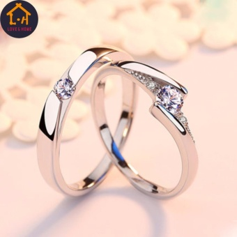 LOVE&HOME JZ-01 Zircon Diamond Lover Couple Rings (Silver)